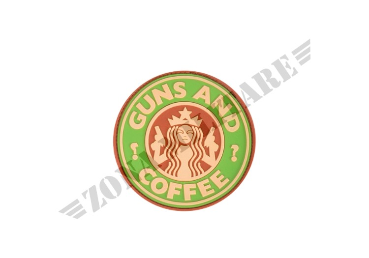 GUNS AND COFFEE RUBBER PATCH MULTICAM