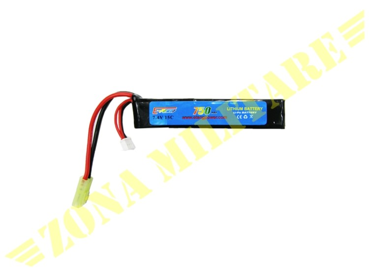 BATTERIA E-POWER LIPO 7.4V 750MAH 15C