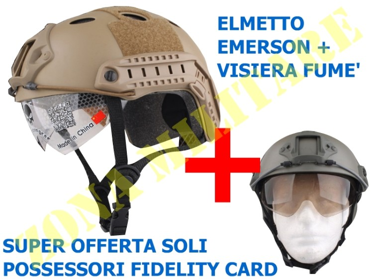 OFFERTA EMERSON KIT ELMETTO PJ STREAM + VISIERA