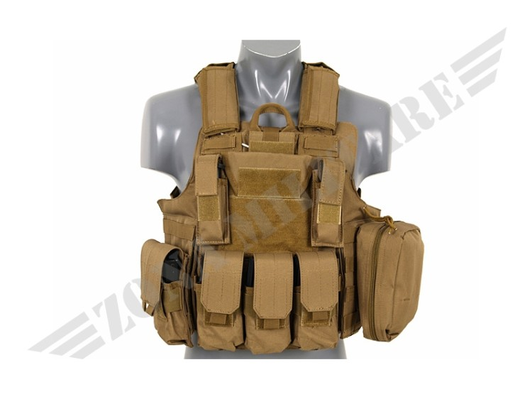 COMBAT VEST RELEASABLE ARMOUR SYSTEM COYOTE 8 FIELDS
