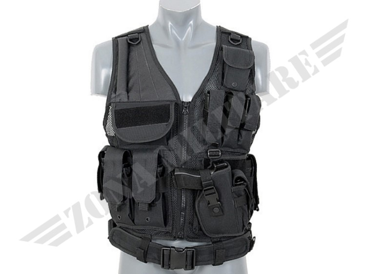 TACTICAL VEST COLORAZIONE BLACK 8 FIELDS